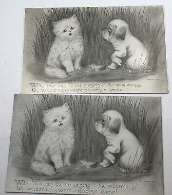 Vintage Cat & Dog Postcard, Artist Colby, Lot Of 2 Identical, 1 Posted