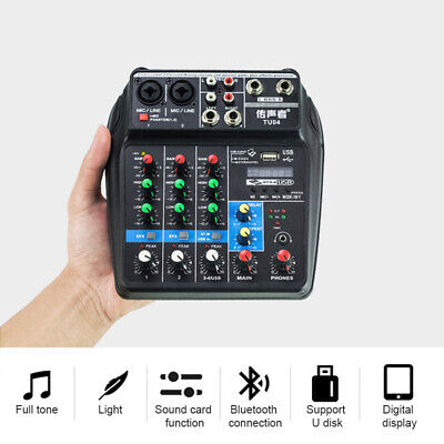 4 Channels Protable Mini Mixer Audio DJ Console with Sound Card, USB, 48V