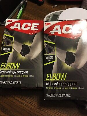 Lot Of 2 Boxes 3M ACE Kinesiology Elbow Adhesive Supports  (3 Supports Each) New