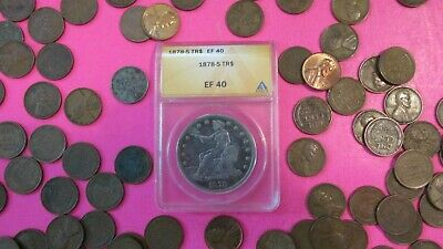"1878-s Silver Trade Dollar ""ANACS EF40""Key Date""plus""FREEBIES""."