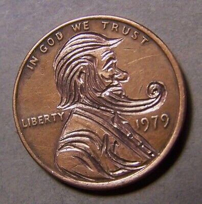 """HAND CARVED CLASSY HOBO COIN,OOAK, """" ..BENNY  the  BEARD.."""""""