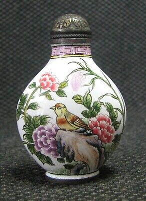 Chinese Copper Delicate Hand Painted Bird And Peonies Snuff Bottle
