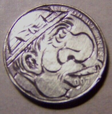 """Hand Carved Classy Hobo Coin,Ooak, """"... Benny   G.. 2007 .."""""""