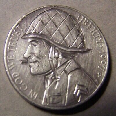 """HAND CARVED CLASSY HOBO COIN,OOAK, """"... Sgt.  MIKE  .."""""""