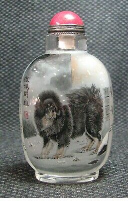 Chinese Traditional Inside-drawing Tibetan Mastiff Design Glass Snuff Bottle*-