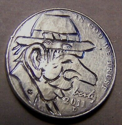 """HAND CARVED CLASSY HOBO COIN,OOAK, """"LONG NOSE LEW MAGOO `n the All Seeing Hat !"""""""