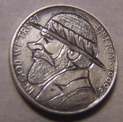 """HAND CARVED CLASSY HOBO COIN,OOAK, """" ....the Infamous ,.. Buster Cobbs ! .. """""""