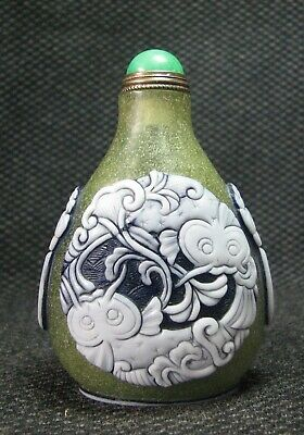 Chinese Delicate Carve Catfish Design Glass Snuff Bottle---=