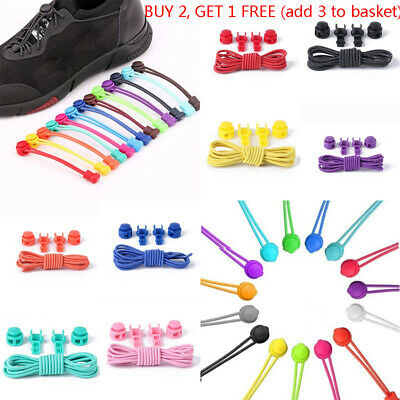 1Pair No Tie Shoelaces Shoe Laces System Easy Lock Adult Kids Trainers Shoes Lot