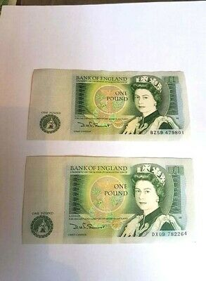 Two 1978-1983 BANK OF ENGLAND ONE POUND £1 NOTE uncirculated