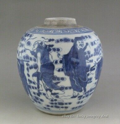 Chinese Old Blue and White Eight Immortals Porcelain Jar Vase tank