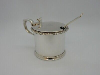 GARRARD Edwardian Solid SILVER Mustard POT, London 1909. Matching Ladle. CRESTED