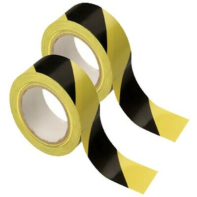 Hazard / Social Distancing Adhesive tape Black / Yellow 48mm Wide x 33M Long