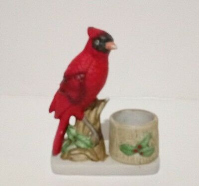 Vintage Jasco Luvkins Songbirds Cardinal Candle Holder Bisque Porcelain