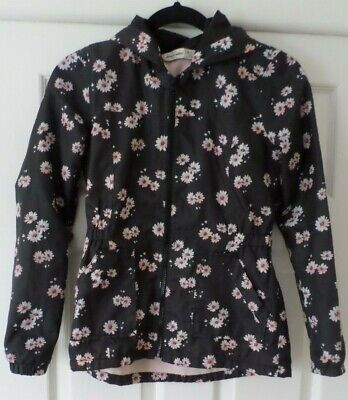 Abercrombie & Fitch Girls Black/Floral Rain Jacket - Age Size 12 years