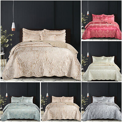 Satin Bedspread Quilted Throw Jacquard Bedding Set Double King & Super King Size