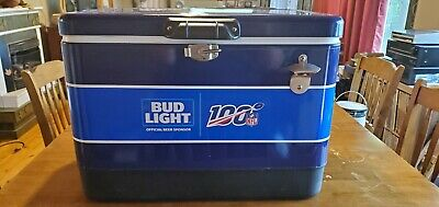 Bud Light NFL 100 Metal Cooler With Bottle Opener.  Never Used. Brand New.