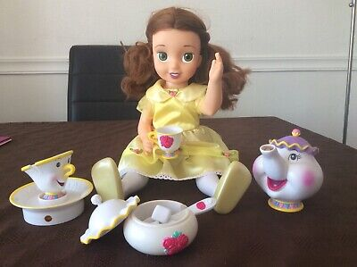 Interactive Disney Princess Tea Time With Me Little Belle Doll With 8 Pc Tea Set