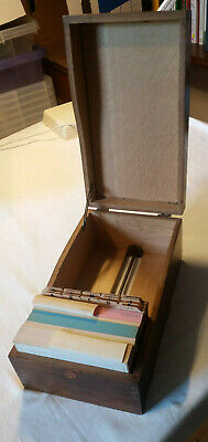 Vintage wooden hinged filing record address card box with adjustable retainer