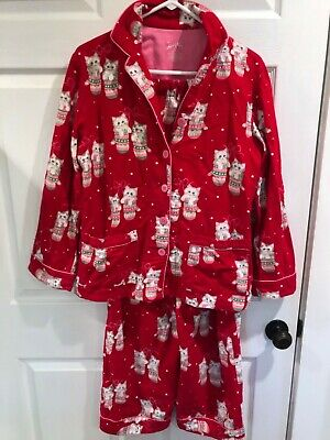 Nick & Nora Flannel Pajame Set Red Kittens with Mittens PJ's Women's Sz L