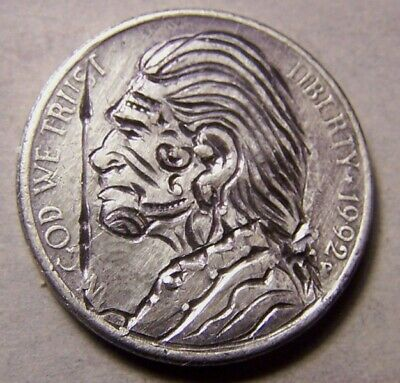 """HAND CARVED CLASSY HOBO COIN,OOAK, """". Unca` Jerry .. The HEADHUNTER.. """""""