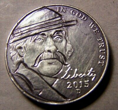 """HAND CARVED CLASSY HOBO COIN , OOAK, """".. ALVAREZ  SMITH ....the Munitions Man.."""""""