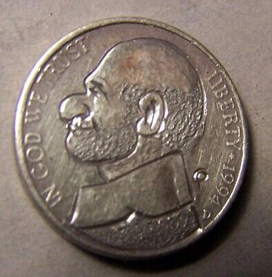 """HAND CARVED CLASSY HOBO COIN , OOAK,  """"... UNCA` BALD DUDE,..Man w/o HAT ..."""""""