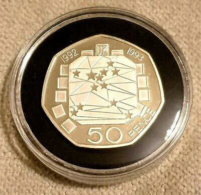 Rare 1992/1993 Dual Date 'EEC' 50p Fifty Pence Coin Silver Proof Piedfort