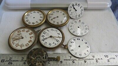 Q55 Vintage Used 8 Day Car Clock Case Movement Lot, Parts SteamPunk Art Craft