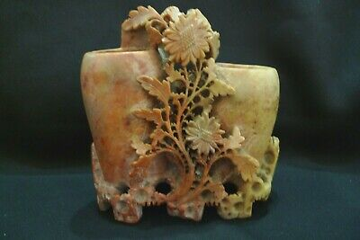 Vintage Hand Carved Chinese Red Tan Floral Soapstone Double Vase Sculpture Exclt