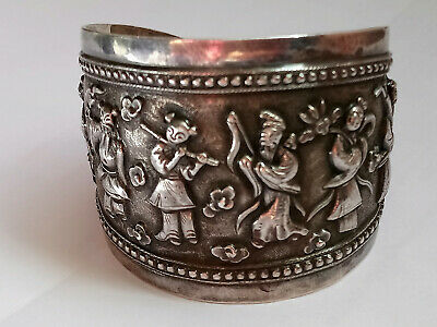 Antique Chinese Export Solid Silver Bangle with Eight Immortals - Adjustable Sz
