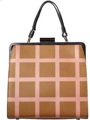 Gorgeous ORLA KIELY BROWN LEATHER PRINTED CHECK LARGE HOLLY BAG RRP £429 New