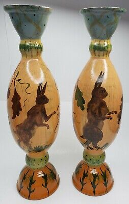 Tracy Porter Hand Painted Wood Candle Holders Rabbits, Acorns, Leaves *Set of 2*