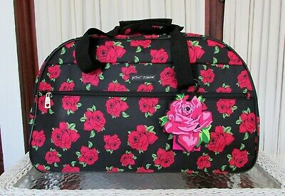 """Betsey Johnson Covered Roses Rolling Duffle Luggage Weekender Bag 22"""" NWT"""