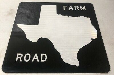 Authentic Retired Texas Blank Farm Road Highway Sign