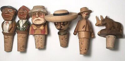 Vintage Carved Wood Bottle Stoppers Character Heads Animal Lot of 6 Old Man Lady
