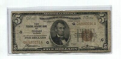 1929 National Currency $5.00 Bank Note