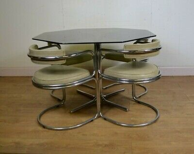 Smoked Glass Dining Table And 4 Chairs, Mid Century, Retro, Vintage, 1970s