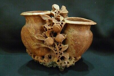 Vintage Hand Carved Chinese Red Tan Double Vase Floral Soapstone Sculpture