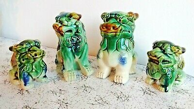 Vintage Chinese Oriental Ceramic Foo Dog Dragon Figurines Set of 4