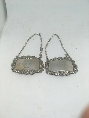A Pair Of Silver Sherry Labels 1974 London
