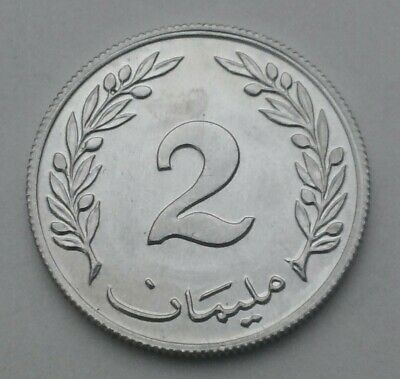 Tunisia 2 Millim 1960. KM#281. Two Cents Pennies coin. Oak Tree. 1 year issue.