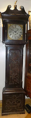 George III longcase clock silvered and brass dial inscribed Scholfield Barnsley