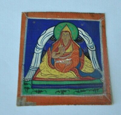 Tibetan Mongolian Antique Mini Thangka Painting Detail Tsakli Buddha Tsongkhapa