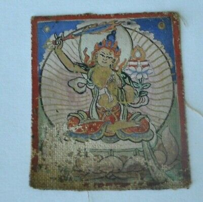Mongolian Tibetan Antique Mini Tsakli Thangka Painting Buddha Manjushri