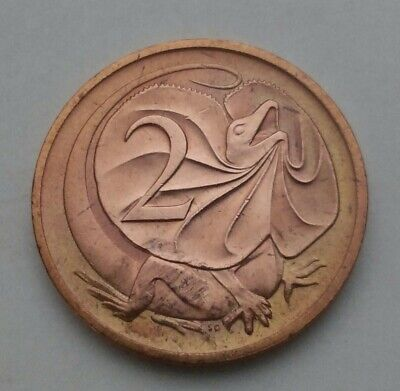 Australia 2 Cents 1984. KM#63. Frilled Lizard. Animals. Two Pence. Young bust.