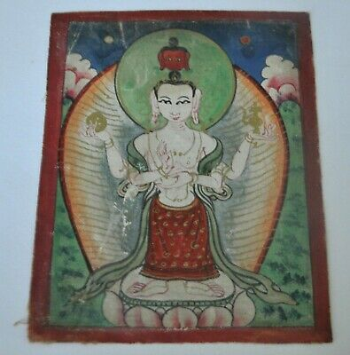 Mongolian Tibetan Antique Miniature Tsakli Thangka Gold Details Beautiful image