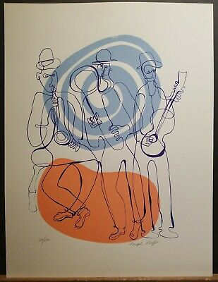 "Joseph Sraff Signed & Numbered Lithograph ""Musicians"" #34/180 1970's 19""x15"""
