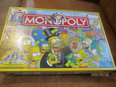 SIMPSONS EDITION MONOPOLY with 8 Classic Character Pewter tokens,