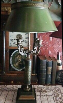 Vintage Bouillotte Table Lamp Green Leather Tole Shade Brass French Empire Metal